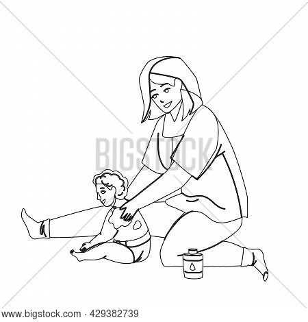 Baby Cream Mother Applying On Child Back Black Line Pencil Drawing Vector. Woman Apply Baby Cream On
