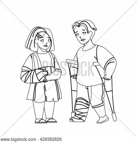 Child Injury Treat In Emergency Hospital Black Line Pencil Drawing Vector. Little Girl With Broken A