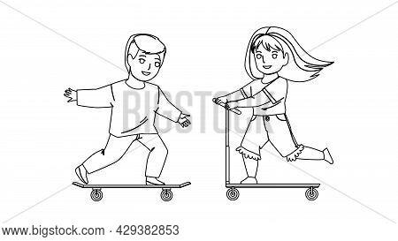Children Boy And Girl Drivers On Transport Black Line Pencil Drawing Vector. Schoolboy On Skateboard