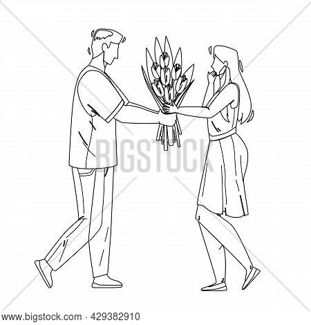 Boy Presenting Flowers To Girl With Love Black Line Pencil Drawing Vector. Young Man Giving Flowers