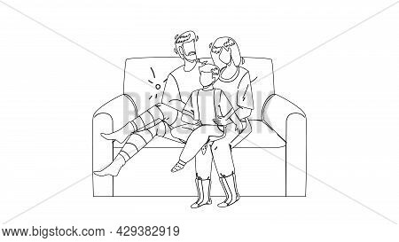 People Relaxing On Cozy Couch Together Black Line Pencil Drawing Vector. Father, Mother And Son Chil
