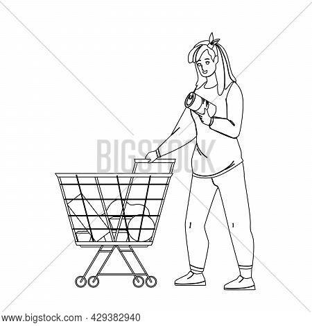 Customer With Market Cart Choosing Food Black Line Pencil Drawing Vector. Young Woman Customer Choos