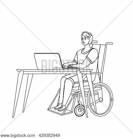 Disabled Worker At Workplace Remote Working Black Line Pencil Drawing Vector. Disabled Worker Sittin