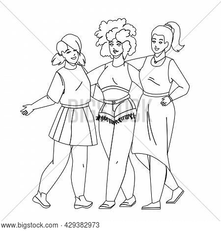 Diverse People Women Embracing Together Black Line Pencil Drawing Vector. Multiracial Caucasian, Afr