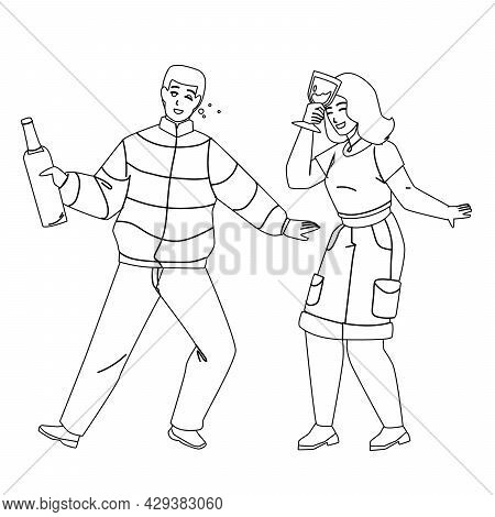 Drunk Man And Woman Couple Drink Together Black Line Pencil Drawing Vector. Drunk Young Boy Holding
