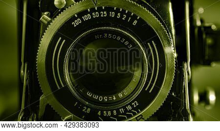 Leipzig, Saxonia, Germany - October 1, 2020: Old Scratched And Dusty Photo Camera, With Foldable Ori