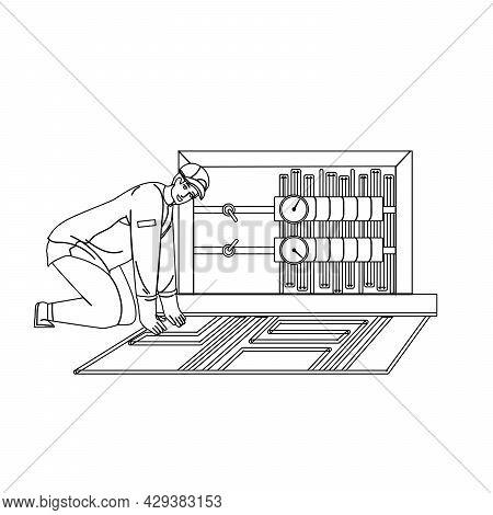 Floor Heating System Installing Handyman Black Line Pencil Drawing Vector. Floor Heating Equipment I