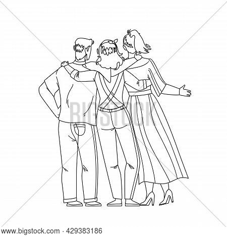 Friendship Young People Back Side View Black Line Pencil Drawing Vector. Man And Women Embracing Tog