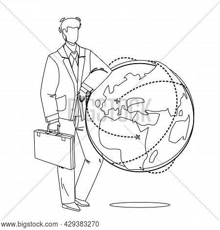 Global Business Managing Businessman Ceo Black Line Pencil Drawing Vector. Global Business Developme
