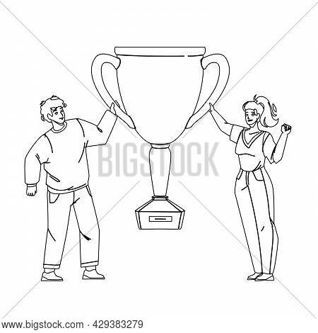 Goal Achievement Celebrate Couple With Cup Black Line Pencil Drawing Vector. Success Goal Achievemen