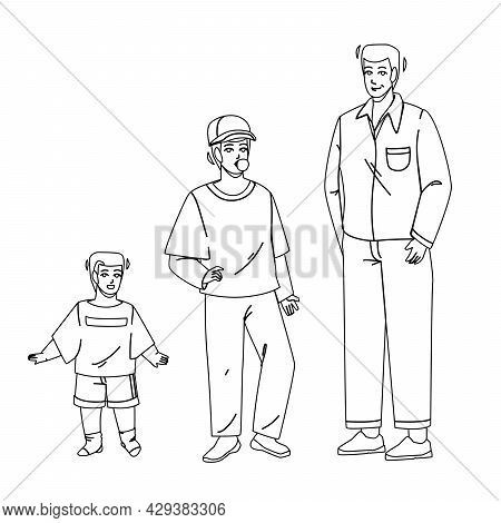 Growing Boy From Little Baby To Adult Man Black Line Pencil Drawing Vector. Growing Boy, Smiling Sma