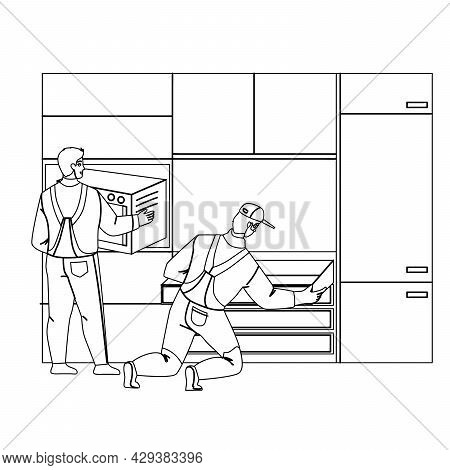 Handyman Workers Install Kitchen Furniture Black Line Pencil Drawing Vector. Professional Serviceman