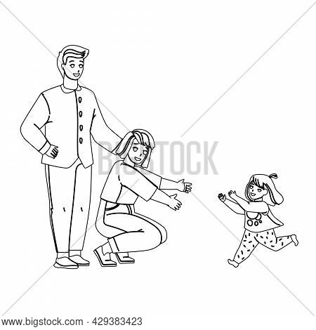 Kid Adoption Young Man And Woman Parents Black Line Pencil Drawing Vector. New Father And Mother Dau