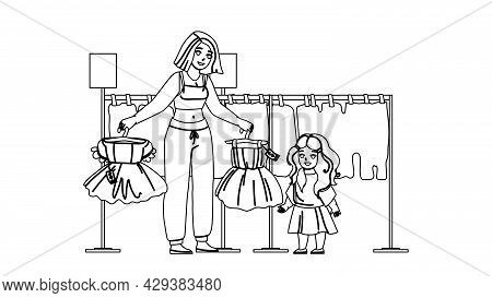 Girl Kid Shopping And Choose Dress In Store Black Line Pencil Drawing Vector. Mother And Kid Shoppin