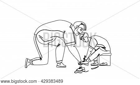 Father With Son Try On Shoes In Kid Store Black Line Pencil Drawing Vector. Man Help Boy Choosing Fo