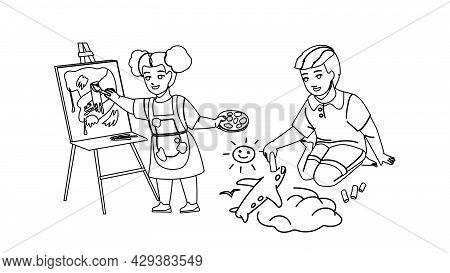 Kids Drawing Creative Picture Together Black Line Pencil Drawing Vector. Boy Draw Airplane With Chal