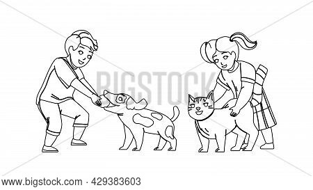 Kids Playing With Pets Together In Park Black Line Pencil Drawing Vector. Little Boy Play With Dog A