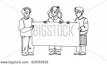 Kids With Blank Advertise Poster Together Black Line Pencil Drawing Vector. Boys And Girl Children H