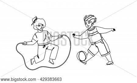 Kids Summer Active Games On Playground Black Line Pencil Drawing Vector. Preteen Boy Playing With Ba