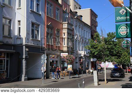 Moenchengladbach, Germany - September 18, 2020: People Visit Downtown Area In Rheydt District Of Moe