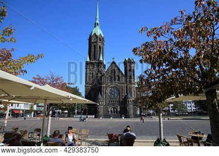 Moenchengladbach, Germany - September 18, 2020: People Visit Rheydt District Of Moenchengladbach, A