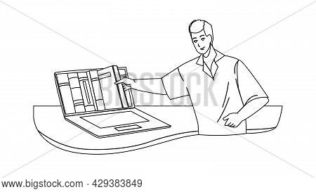 Online Library Service For Reading Book Black Line Pencil Drawing Vector. Young Man Choosing Literat