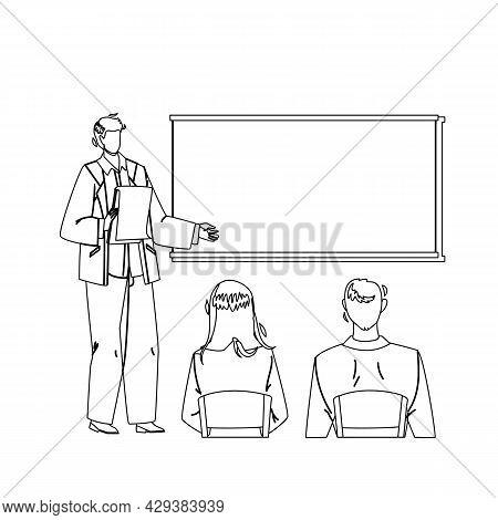 Presentation Company Strategy Speak Worker Black Line Pencil Drawing Vector. Businessman Giving Pres
