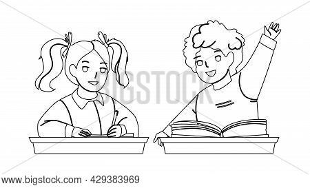 Pupils Boy And Girl Studying At School Desk Black Line Pencil Drawing Vector. Schoolboy Raise Hand F