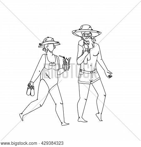 Senior Vacation Together On Ocean Shoreline Black Line Pencil Drawing Vector. Old Woman Carrying Sli