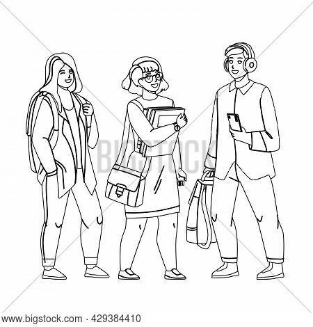Student Teenagers Studying In University Black Line Pencil Drawing Vector. Young Boy Holding Smartph