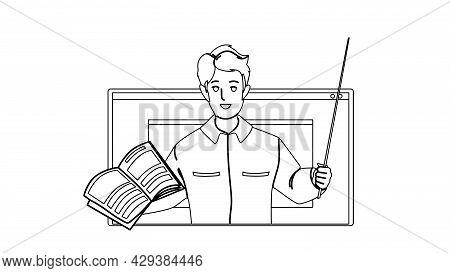 Teacher Explain Subject Theme From Laptop Black Line Pencil Drawing Vector. Young Man Teacher Explai