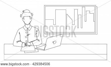 Tv News Presenter In Television Studio Black Line Pencil Drawing Vector. Newsreader Presenting Tv Ne