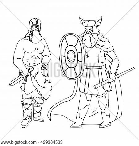 Viking Men Armoured With Axe And Shield Black Line Pencil Drawing Vector. Bearded Muscular Viking St