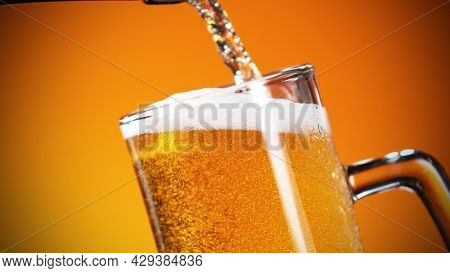 Pouring beer into pint, close-up.. Fresh beverages and pub backgorund.
