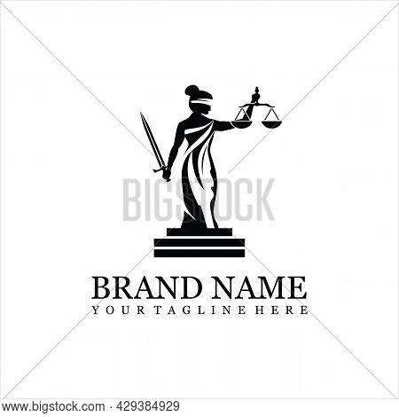 Lady Law Logo Vector For Law Firm Legal Logo Design Template. Vector Law Firm Logotype Or Badge.
