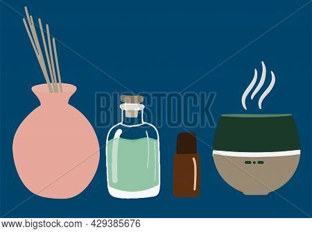 Collection Of Elements For Aromatherapy, Diffuser, Aroma Lamp, Massagers For Face And Body, Spa And