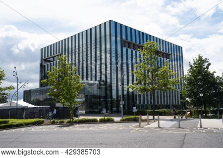 Corby, United Kingdom - August1, 2021 - Corby Cube Building, Corby Borough Council Modern Building