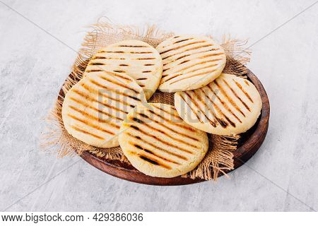 Top View Of Arepas Made With Corn Flour, Latin American Food Concept