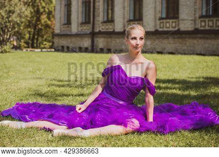 Young Ballerina In Vintage Look. Ballet Dancer Girl. Image Of A Dancing Woman. Lady In Purple Evenin