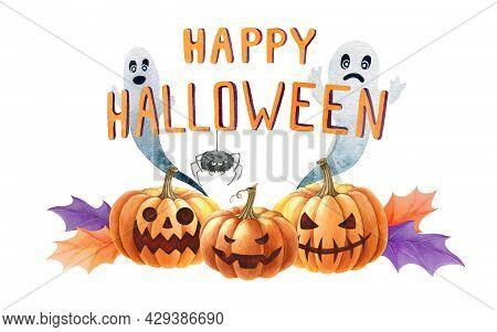 Happy Halloween Decoration. Hand Drawn Jack Head Pumpkins, Ghosts, Spider Decoration. Watercolor Ill