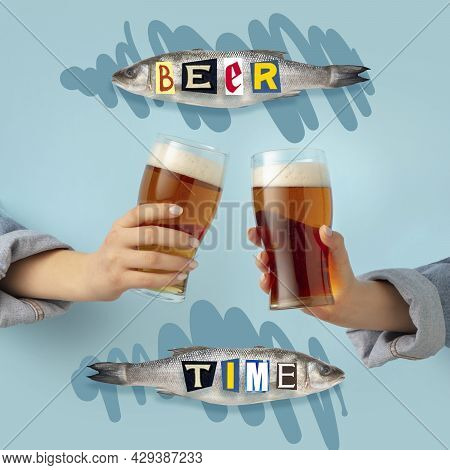 Contemporary Art Composition With Two Male Hands Holding Beer Glasses With Lager, Cold Beer. Concept