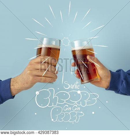 Contemporary Art Collage With Two Male Hands Holding Beer Glasses With Craft Light, Cold Beer. Conce