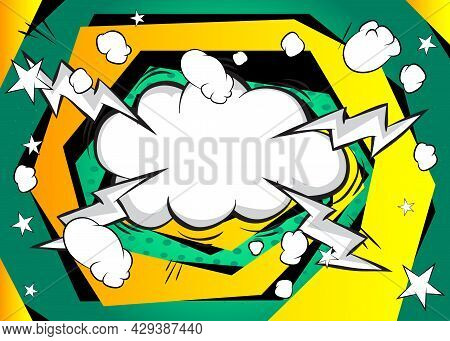 Pop Art Comic Background Of A Typical Comic Book Page. Funny Speech Bubble. Cartoon Vector Illustrat