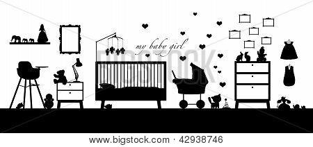 Baby Girl Room Interior Black Silhouette