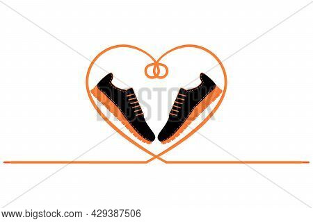A Pair Of Sneakers And A Heart Shaped Shoelaces. A Pair Of Gym Shoes With Long Laces. Isolated Vecto