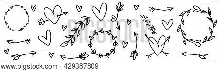 Doodle hearts collection. Hand drawn heart shape. Doodle frame in black. Sketch arrows vector.