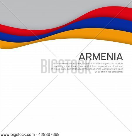 Abstract Waving Armenia Flag. Paper Cut Style. Creative Background For Design Of Patriotic Holiday C