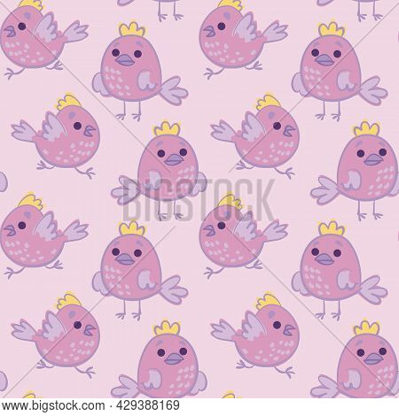 Cute Pink Birds Seamless Pattern. Chubby Round Birds On A Delicate Purple Background. Print For Girl