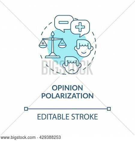 Opinion Polarization Blue Concept Icon. Negative And Positive Thinking. Opposition In Enviromental I