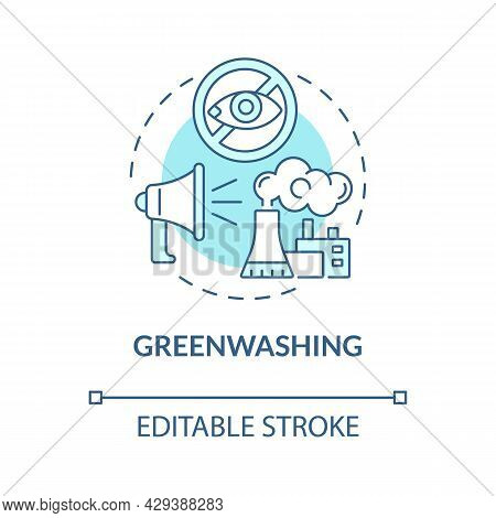 Greenwashing Blue Concept Icon. Market Tricks. Companies Misleading Information To Gloss Over Bad Be